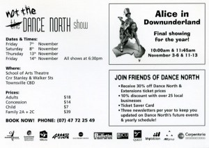 not the Dance North show 7,8,13,14 November 2004 - Scool of Arts Theatre - Back of Flyer sm
