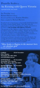 Prunella Scales in An Evening with Queen Victoria - T'ville Civic Theatre 25 11 2004 - Back of Flyer - Small
