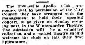 Apollo Club Concert advert TDB Fri 22 Mar 1929