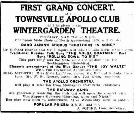 Apollo Club Concert advert TDB Sat 11 May 1929