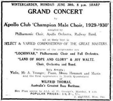 Apollo Club Concert advert TDB Sat 21 Jun 1930