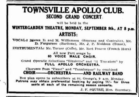 Apollo Club Concert advert TDB Sat 24 Aug 1929