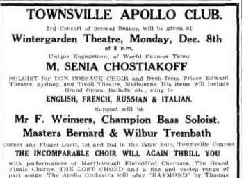 Apollo Club Concert advert TDB Sat 29 Nov 1930