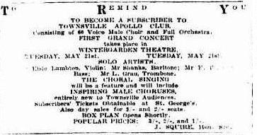 Apollo Club Concert advert TDB Wed 8 May 1929