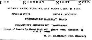 Apollo Club Strand concert Tues 18 Aug 1931