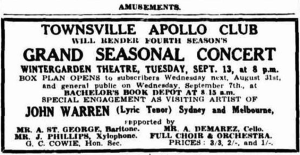 Apollo Club concert Tues 13 Sep 1932