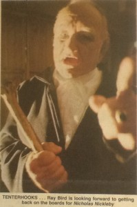 Ray Bird as Lillyvick in the 1980 production of Nicholas Nickleby  which opened at the Townsville Civic Theatre