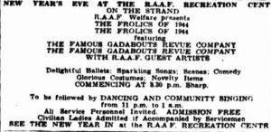 1944 New Years Eve concert advertisement. (Townsville Daily Bulletin Sat 30 Dec 1944)