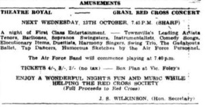 Advert for the Red Cross Benefit concert in Townsville Daily Bulletin Sat 9th Oct 1943