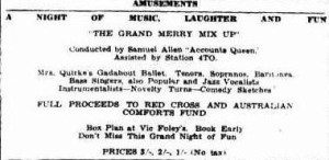 1944 Red Cross Benefit Concert advertisement (Townsville Daily Bulletin Thurs 7 Sept 1944)