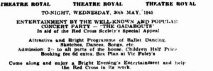 1945 Red Cross Benefit Concert advertisement (Townsville Daily Bulletin Wed 30 May 1945)