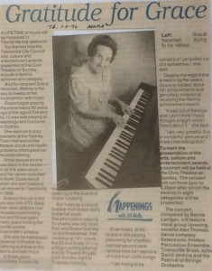 Grace Newman in 1996 in an interview for her Lifetime Achievement Award (Townsville Daily Bulletin Nov 1996)