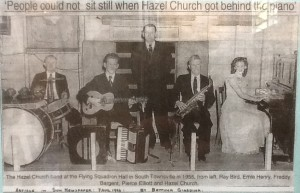 Caption reads: The Hazel Church band at the Flying Squadron Hall in South Townsville in 1955, from left, Ray Bird, Ernie Henry, Freddy Bargent, Pierce Elliott, and Hazel Church (Article in The Sun Newspaper on 7th Aug 1996 by Bettina Giardina)