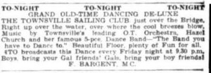 Advert for a dance at the Townsville Sailing Club (Townsville Daily Bulletin 11 Jan 1955)