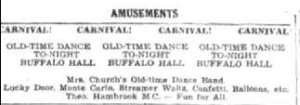 Advert for an old Time dance at the Buffalo Hall (Townsville Daily Bulletin 6 Mar 1951)