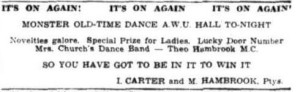 Advert for a dance at the A.W.U.Hall (Townsville Daily Bulletin 8 Mar 1951)