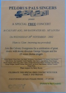 Flyer for the Pelorus Pals concert on Wednesday 20th Nov 2002