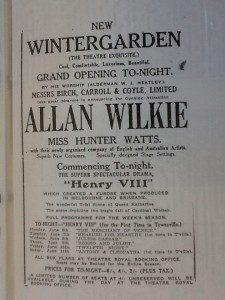 The Programme for the official opening of the Wintergarden Theatre