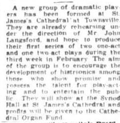 Formation announcement for the St James' Players Townsville Daily Bulletin Fri 8 Feb 1952.