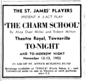 The Charm School Advert (Townsville Daily Bulletin Wed 12 Nov 1952)
