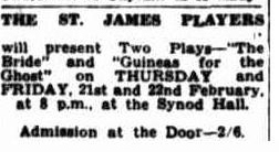 Advert for the first two plays by the newly formed St James' Players Townsville Daily Bulletin Tues 19 Feb 1952