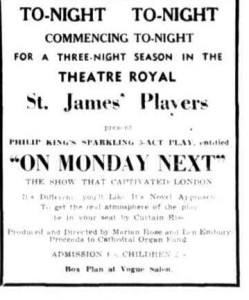 """On Monday Next"" advert Townsville Daily Bulletin Thurs 29 July 1954"