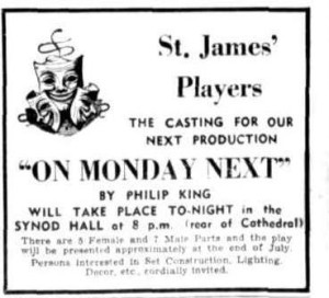 "Casting advert for ""On Monday Next"" Townsville Daily Bulletin Tues 1 June 1954"