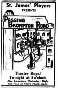 """Passing Brompton Road"" advert Townsville Daily Bulletin Fri 7 May 1954"