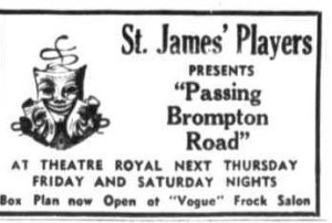 """""""Passing Brompton Road"""" advert Townsville Daily Bulletin Mon 3 May 1954"""