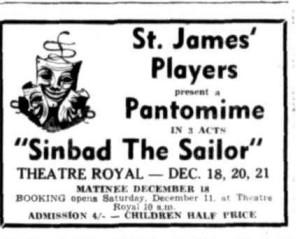 """Sinbad The Sailor"" advert Townsville Daily Bulletin Wed 8 Dec 1954"