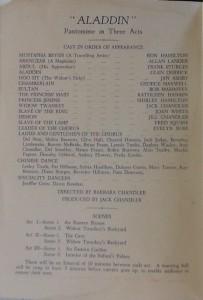 "St James Players ""Aladdin"" programme page 3 1956"