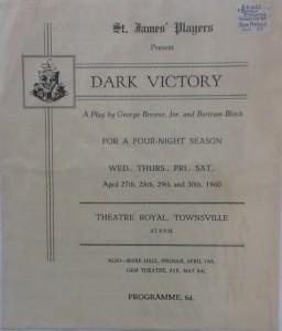 "St James Players ""Dark Victory"" programme 1960"