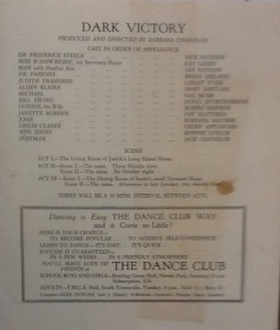 """St James Players """"Dark Victory"""" programme page 3 1960"""