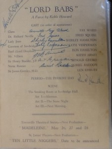 """St James Players """"Lord Babs"""" programme page 2 1955"""