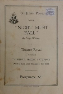 """St James Players """"Night Must Fall"""" programme 1958"""
