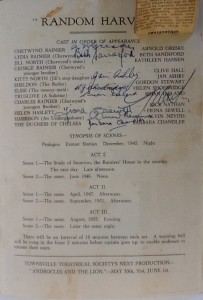 "St James Players ""Random Harvest"" programme page 3 1957"