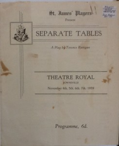 "St James Players ""Separate Tables"" programme 1959"