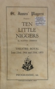 "St James Players ""Ten Little Niggers"" programme 1955"