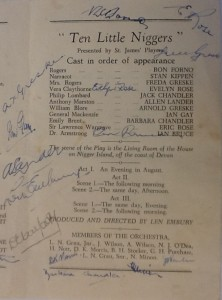"St James Players ""Ten Little Niggers"" programme page 3 1955"