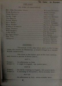 "St James Players ""The Corn is Green"" programme page 2 1963"