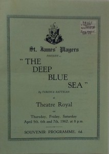 "St James Players ""The Deep Blue Sea"" programme 1962"