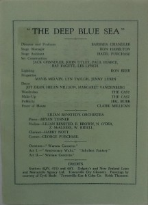 "St James Players ""The Deep Blue Sea"" programme page 2 1962"