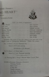 "St James Players ""The Shifting Heart"" programme page 3 1961"