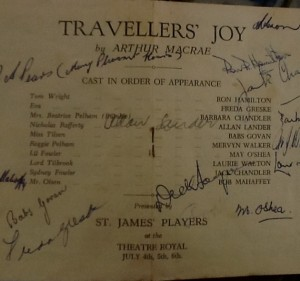 "St James Players ""Travellers Joy"" programme page 3 1963"