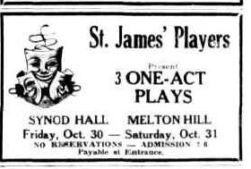 Three one-act plays advert Townsville Daily Bulletin Wed 28 Oct 1953