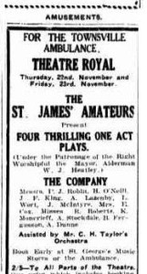 St James Amateurs Four one-act plays advertisement (Townsville Daily Bulletin Tues 20 Nov 1928)