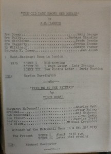 "St James Players 3 one act plays programme Page 2 ""The Old Lady Shows Her Medals"" & ""Find Me At The Federal"" 1966"