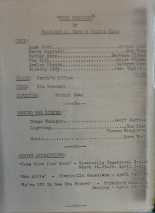 "St James Players 3 one act plays programme page 3 ""Wife Required"" 1966"