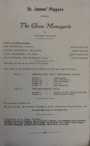 "St James Players ""The Glass Menagerie"" programme 1965"