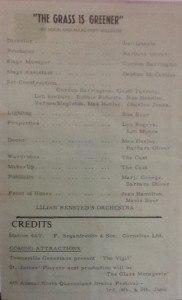 "St James Players ""The Grass is Greener"" programme page 2 1965"